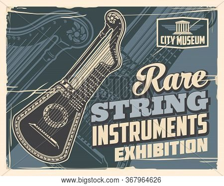 Guitar Harp Rare String Musical Instrument Retro Vector Poster. Antique And Rare Folk Unique Musical