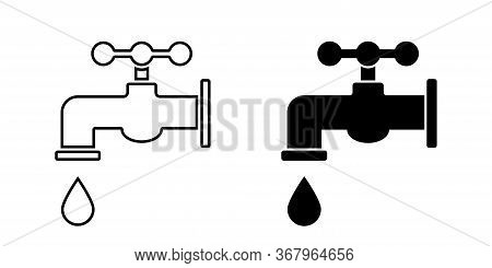 Tap Water. Vector Isolated Icon. Faucet Vector Icon. Bathroom Faucet Icon.