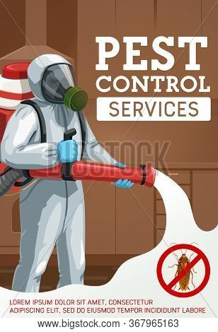 Cold Fogging Pest Control Method. Cartoon Worker Spraying Insecticide With Cold Fogger Against Insec