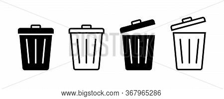 Trash Bin. Vector Isolated Icons. Black Vector Trash Dusbin Sign Icon Isolated Elements.