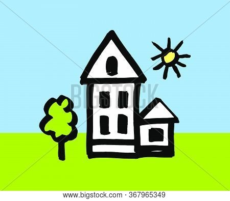 House - Color Children's Illustration. House - Stock Illustration Painted By A Child. House, Tree, S