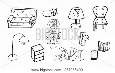 Line Furniture Icons Set. Home Furniture, Comfort. Girl In A Chair, Soft Sofa, Cats, Bedside Table,
