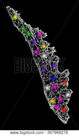Web Mesh Vector Map Of Kerala State With Glow Effect On A Black Background. Abstract Lines, Light Sp