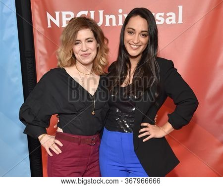 LOS ANGELES - JAN 11:  Alice Wetterlund and Sara Tomko on the red carpet at the NBCUniversal Winter TCA 2020 on January 11, 2020 in Pasadena, CA