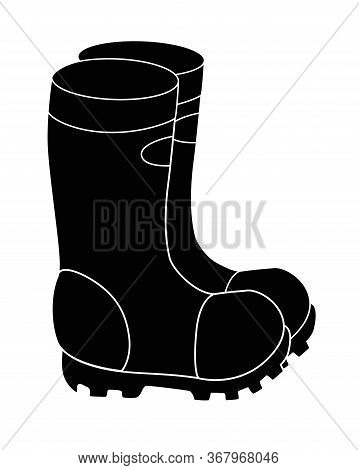 Silhouette Of Rubber Boots. Garden Rubber Boots - Vector Black Silhouette For Logo Or Pictogram. Bad