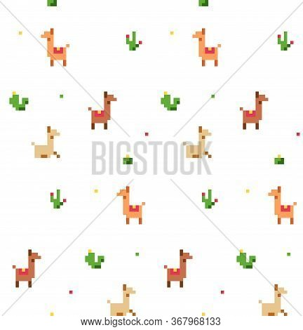 Pattern With Cute Pixel Art Lamas And Cacti