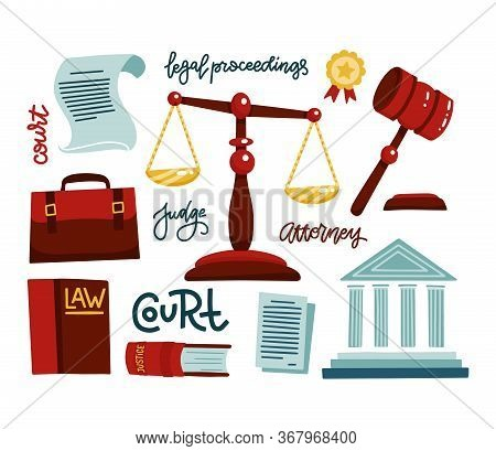 Symbols Of Legal Regulations. Juridical Icons Set. Juridical, Tribunal And Judgment, Law And Gavel.