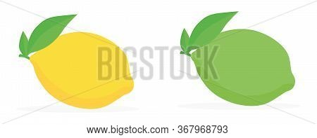 Lime And Lemon Set. Isolated On A White Background. Vector Illustration Icon Set Lemon And Lime.