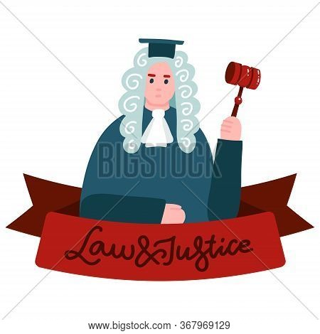 Supreme Court, Judiciary Social Media Banner. Judge In Mantle And Wig Cartoon Characterwoth Letterin