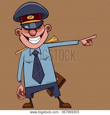 Cartoon Man In A Policeman Uniform Laughs And Points Finger To The Side