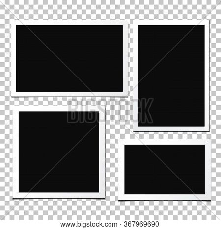Set Of Vector Photo Frames Isolated On White Background. Old And Vintage Paper. Album For Pictures A
