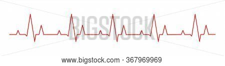 Hearbeat Red Line. Vector Isolated Illustration. Abstract Wave. Pulse Red Vector Trace. Ekg Cardio L