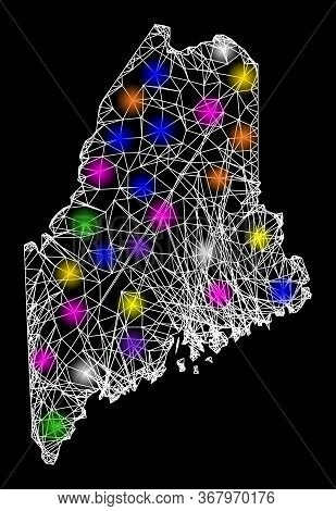 Web Mesh Vector Map Of Maine State With Flare Effect On A Black Background. Abstract Lines, Light Sp