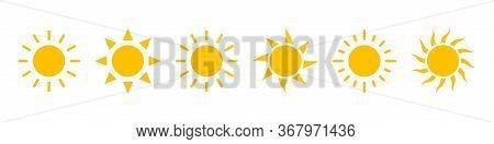 Sun Icons Vector Isolated On White Background. Shine Sun Ray Set. Sunshine Vector Sign. Sunset Icon