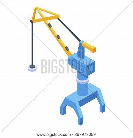 Port Magnet Crane Icon. Isometric Of Port Magnet Crane Vector Icon For Web Design Isolated On White