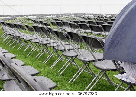 Empty wet seating outdoors