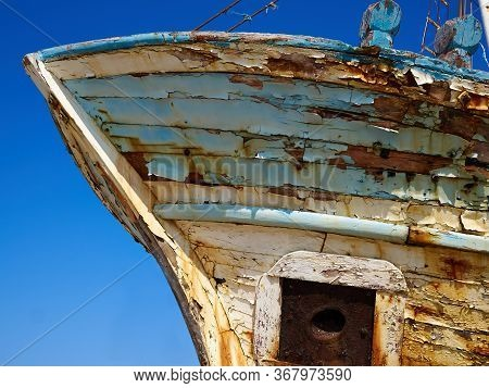 Derelict Wooden Old Traditional Fishing Boat Wreck Lachi Latsi Port Near Polis Cyprus