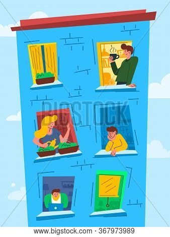Cartoon Color Characters People In Windows Concept Flat Design Style Symbol Of Neighborhood. Vector