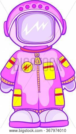 Astronaut In A Pink Spacesuit, Isolated Object On A White Background, Vector Illustration, Eps