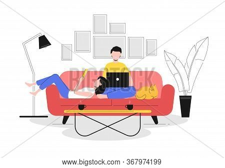 Cartoon Color Characters People Couple And Home Resting Concept Flat Design Style And Lineart Elemen