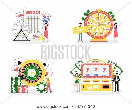 Cartoon Color Lottery And Casino Characters People Concept Flat Design Style And Lineart Elements. V