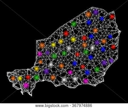 Web Mesh Vector Map Of Niger With Glow Effect On A Black Background. Abstract Lines, Light Spots And