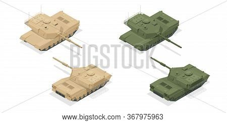 Isometric American Main Battle Tank M1a2 Icons Isolated On White High Quality Vector Illustration. H