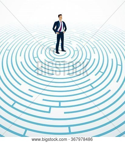 Confused Young Handsome Businessman In The Center Of Radial Labyrinth Trying To Find Way Out Vector