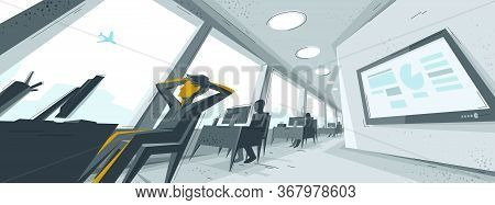 Office Interior In Distorted Perspective With Employees And One Man Is Dreaming About Travel To Vaca