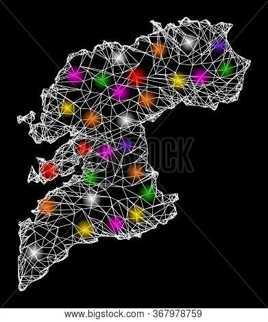Web Mesh Vector Map Of Pontevedra Province With Glow Effect On A Black Background. Abstract Lines, L
