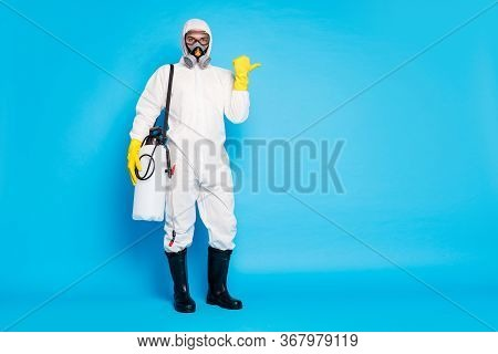 Full Size Photo Medical Worker In Hazmat White Protective Suit Latex Yellow Gloves Goggles Point Thu