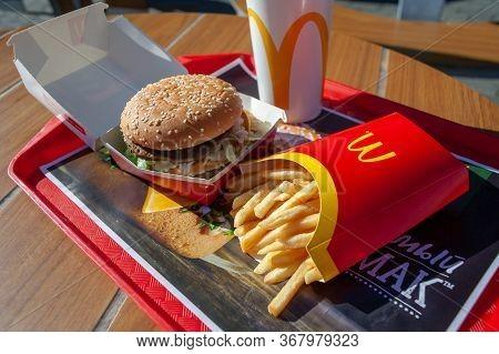 Minsk, Belarus - August 12, 2018: Big Mac Hamburger Menu In Mcdonald's Restaurant.