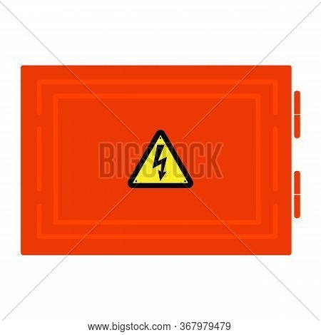 Symbol Electricity. Red Door Hatch And Triangular Black Icon Of Electricity. Power Outage. Warning L
