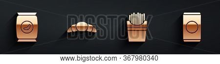 Set Bag Or Packet Potato Chips, Croissant, Potatoes French Fries In Box And Soda Can With Straw Icon
