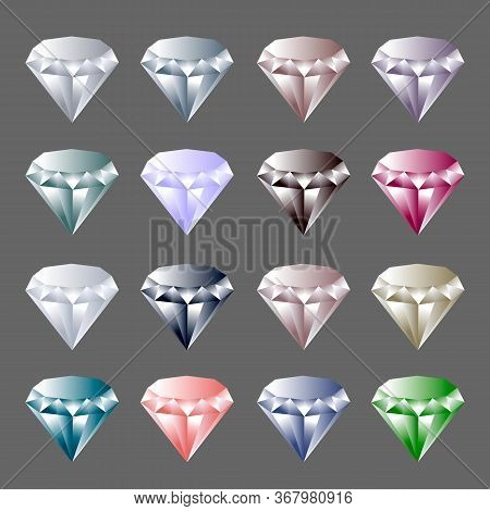 Gems. Vector Jewels Or Precious Diamonds Gem Set. Diamond Or Brilliants Icons Set