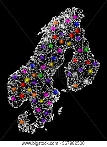 Web Mesh Vector Map Of Scandinavia With Glitter Effect On A Black Background. Abstract Lines, Light