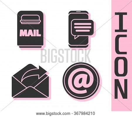 Set Mail And E-mail, Mail Box, Outgoing Mail And Chat Messages Notification On Phone Icon. Vector.