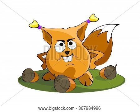 Nice Fat Squirrel With A Nuts. A Startled Squirrel. Cartoon Image. Vector.