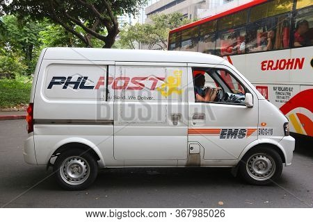 Manila, Philippines - December 7, 2017: Phlpost (philippine Postal Corporation) Van In Makati, Phili
