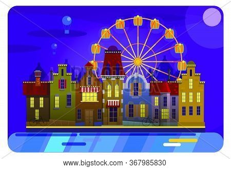 Cool Vector Background Amsterdam Street Facades Cartoon Vector Illustration , Colorful Urban Canal ,