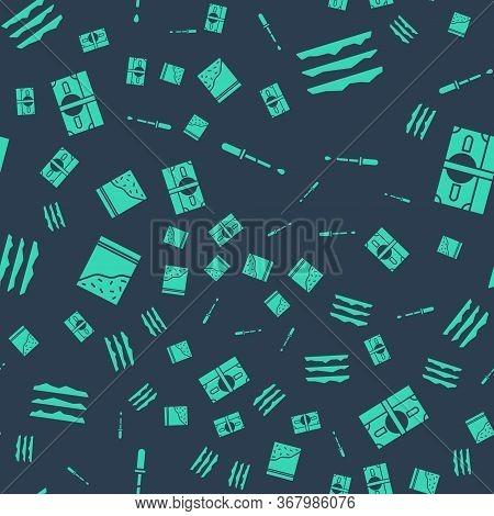 Set Pipette, Cocaine Or Heroin Drug, Plastic Bag Of Drug And Stacks Paper Money Cash On Seamless Pat
