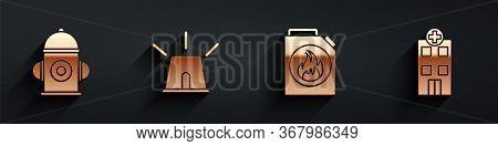 Set Fire Hydrant, Flasher Siren, Canister For Flammable Liquids And Medical Hospital Building Icon W