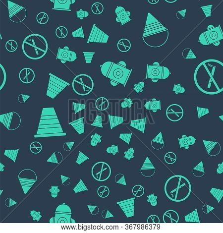 Set Fire Hydrant, Fire Cone Bucket, Traffic Cone And No Smoking On Seamless Pattern. Vector.