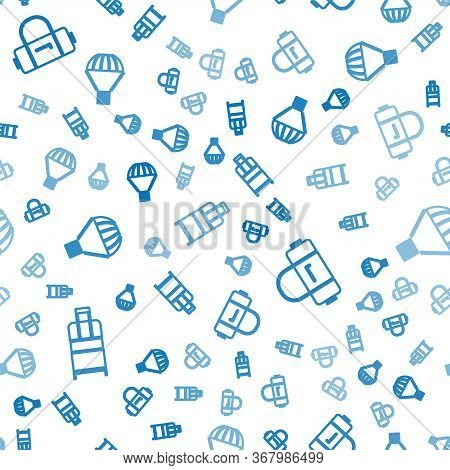 Set Isometric Suitcase, Suitcase And Box Flying On Parachute Icon. Vector.