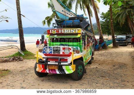 Palawan, Philippines - November 29, 2017: Jeepney Public Transportation Vehicle At Sabang Beach In P