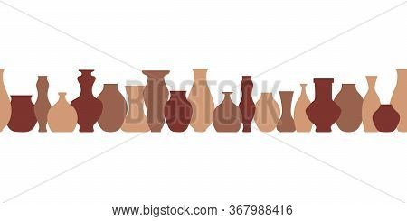 Pottery Flat Seamless Border. Handmade Ceramic Vase And Pots . Pottery Hobby. Banner For Your Studio