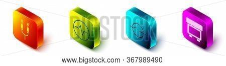 Set Isometric Audio Jack, Electric Circuit Scheme, Electric Circuit Scheme And Fuse Icon. Vector.
