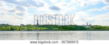 Panorama Of Kiev With Dniepr River, Mother  Motherland Statue And Kiev-pechersk Lavra Monastery. Kie