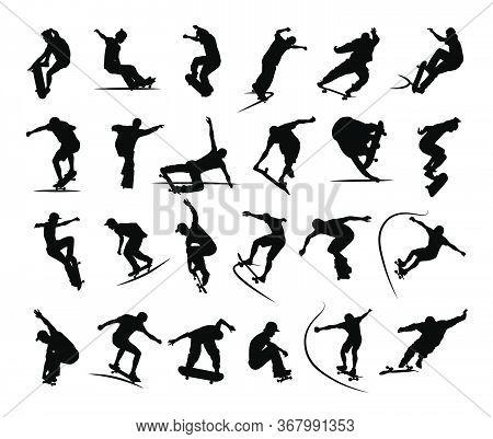 Set Of Skaters Silhouettes Jumping And Making Tricks On Skateboard In Skatepark. Black And White Vec