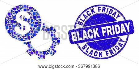 Geometric Dollar Setup Gear Mosaic Icon And Black Friday Stamp. Blue Vector Round Grunge Seal Stamp